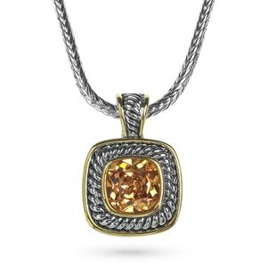 Cable Citrine Crystal Statement Pendant Necklace